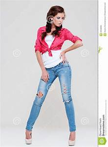 Woman In Blue Jeans And Red Shirt Royalty Free Stock Image - Image 22048366