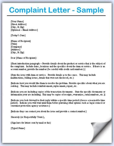 complaint letters samples template letter sample