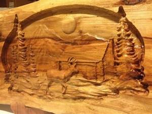 Carved Wood Panel Wall Art Deer And Cabin Wildlife Scene