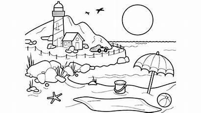 Mewarnai Pantai Pemandangan Gambar Sketsa Pasir Cara