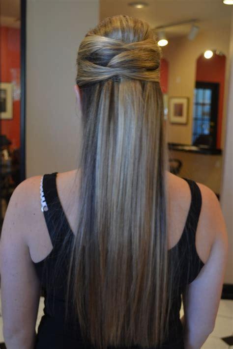 simple bridesmaid hairstyle  wedding long straight