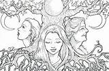 Coloring Crone Maiden Mother Pages Adult Deviantart Wiccan Goddess Pagan Colouring Triple Books Printable Moon Sheets Stamp Digital Adults Witchcraft sketch template