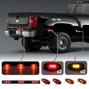 Red 3 Bar Light U0026amber  Red Side Fender Marker Dually Bed Led Light For Gmc Sierra
