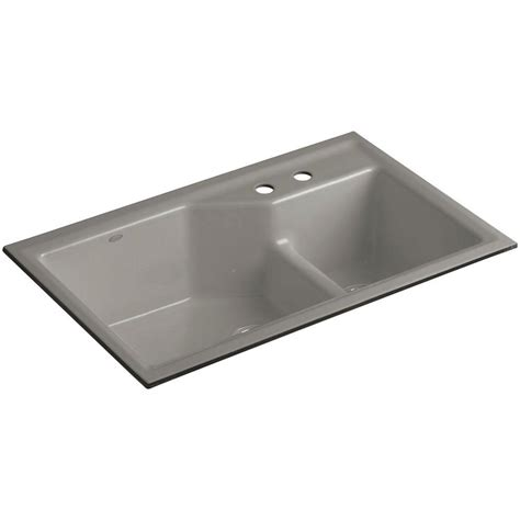 kohler kitchen sinks undermount kohler indio smart divide undermount cast iron 33 in 2 6697