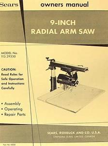 Craftsman 113 29330 9 U0026quot  Radial Arm Saw Operator  U0026 Parts