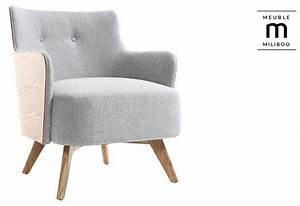 fauteuil scandinave gris perle pieds bois valmy fauteuil With fauteuil pied bois pas cher