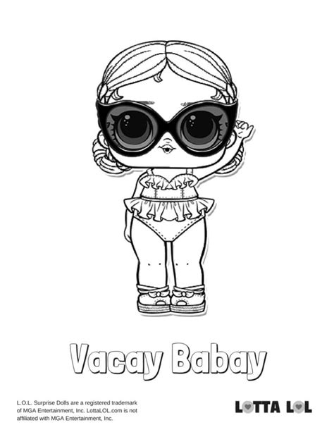 vacay babay lol surprise doll coloring page lotta lol