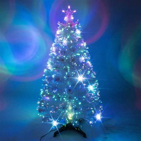 white fibre optic christmas tree w multicoloured leds