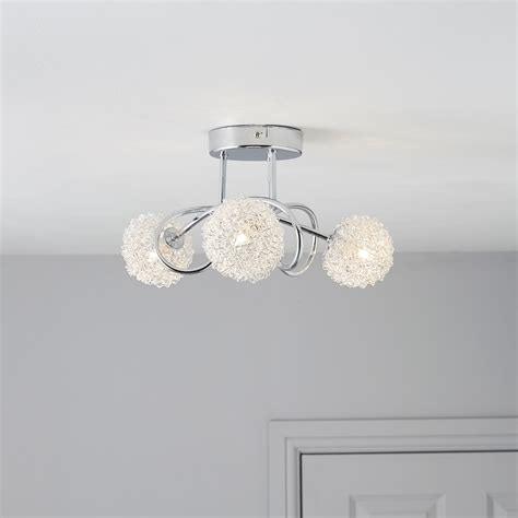 pallas chrome effect 3 l ceiling light departments diy at b q living room ceiling