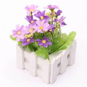 Artificial Flowers Indoor Outdoor Potted Plants Wooden ...