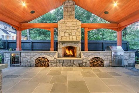 70 outdoor fireplace designs for