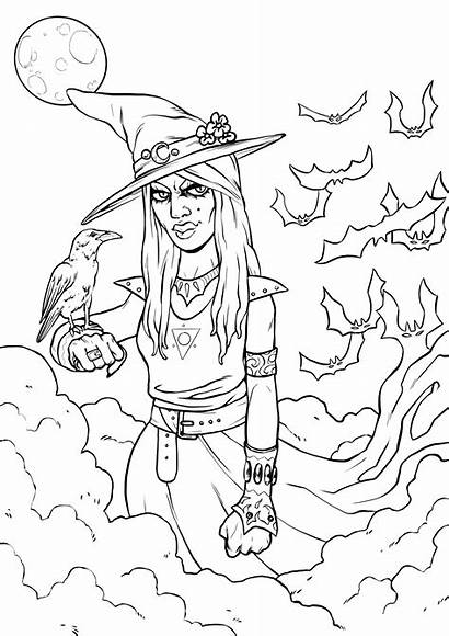 Coloring Halloween Witch Simple Raven Colorare Adulti
