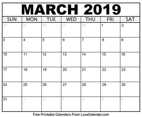 Blank March 2019 Printable Calendar