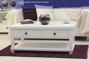 new england white painted living room furniture four With white wood coffee table with drawers