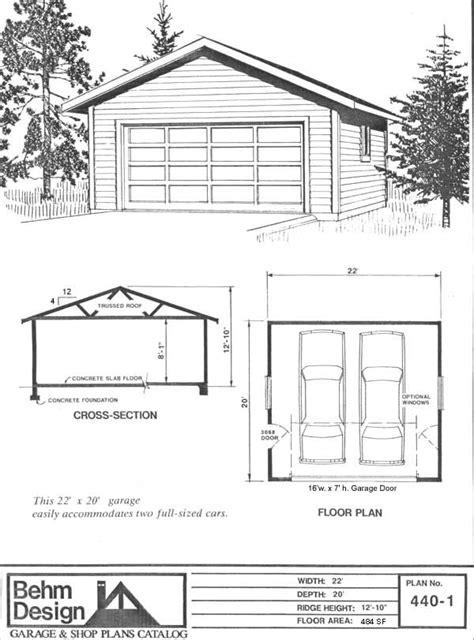 Garage Plan # 440-1 (22'x20') | Garage plans, Garage shop