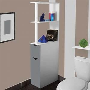 Etagere Papier Toilette : meuble wc tag re bois gain de place pour toilette 2 portes grises ~ Teatrodelosmanantiales.com Idées de Décoration