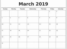 March 2019 Free Calendar Template