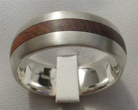 domed wooden inlay silver wedding ring love2have in the uk
