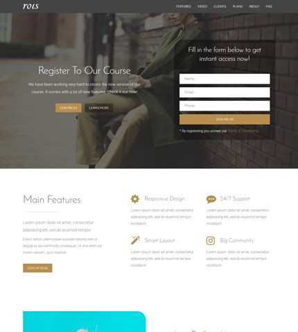 Bootstrap Landing Page Premium Template Rois 20 Bootstrap Landing Pages Azmind