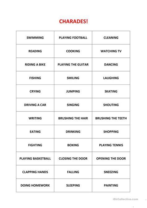 esl charades worksheets
