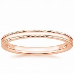 2mm Milgrain Wedding Ring In 14K Rose Gold