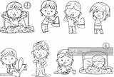 Routine Daily Clipart Morning Waking Drawings Clip Routines Line Illustrations Coloring Cartoon Activities Children Boy Istockphoto Ausmalen Colorear Schedule Rf sketch template