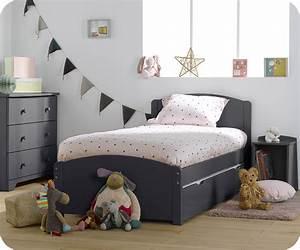 Lit Maison Enfant : pack lit enfant nature gris sommier matelas natura ~ Farleysfitness.com Idées de Décoration