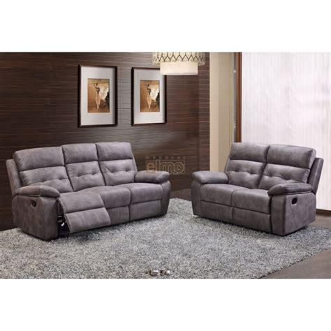 canapé de relaxation 2 places canapé 2 places relax milord tissu gris haut de gamme