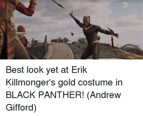 Best Look Yet at Erik Killmongeru0026#39;s Gold Costume in BLACK PANTHER! Andrew Gifford   Meme on ...