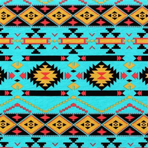 mustard coral navajo  turquoise cotton jersey blend knit