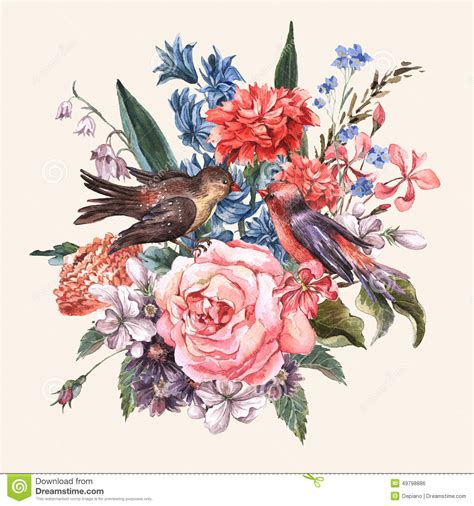 floral bouquet  roses hyacinths birds stock