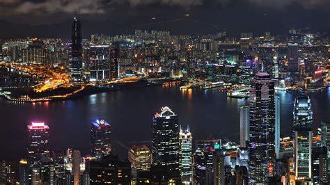 asia hong kong skyscrapers river top view night lights ultra  hd wallpaper