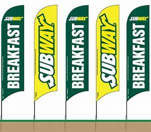 10ft Feather Flag - Subway 5 Pack W/ Breakfast Flag