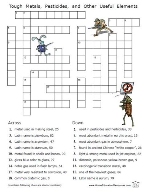 printable chemistry chemical elements puzzles