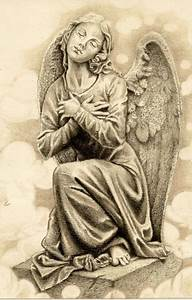 Praying angel statue with closed eyes tattoo design ...