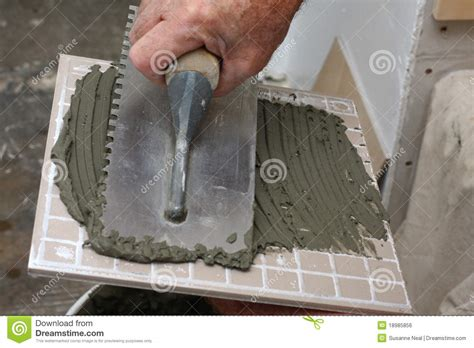 thinset for porcelain tile thin set mortar spread on tile stock photo image 18985856