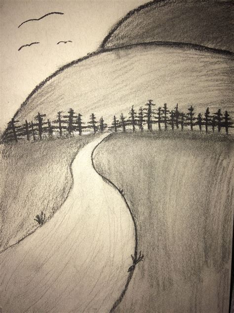 easy charcoal art drawing  beginners mountains