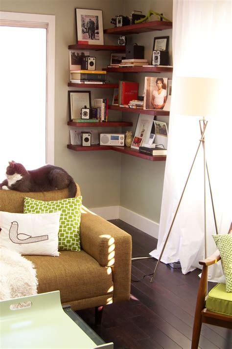 living room shelves 15 ways to diy creative corner shelves