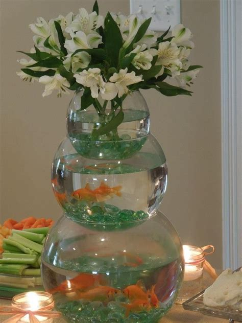 stacked fishbowl centerpiece  boy baby shower  fish