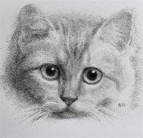 pointillism dotted style ink  cat portrait