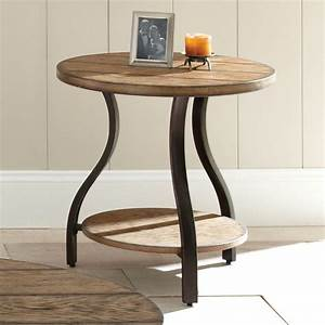 Denise round side table light oak wood top metal base for Light oak round coffee table