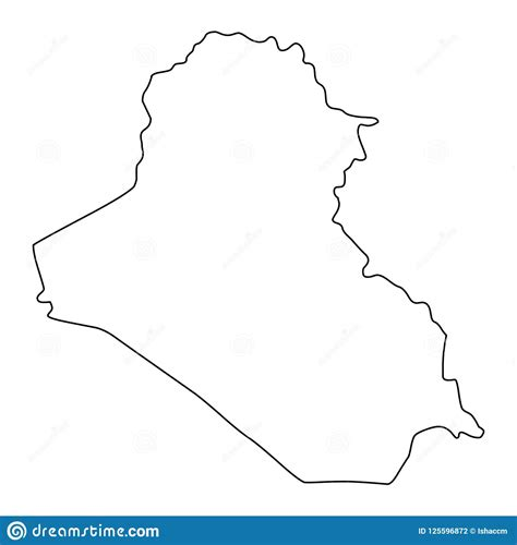 Iraq Map Outline Vector Illustration Stock Vector
