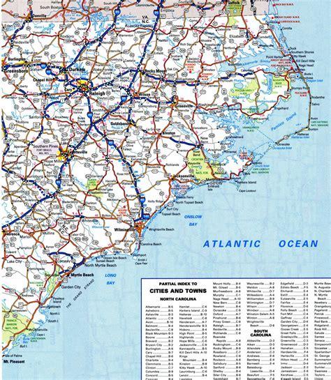 south nc north carolina road map with cities afputra com