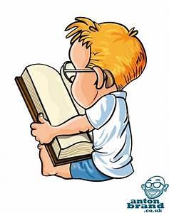 Jan 4 Cute little cartoon boy reading a big book | Cartoon ...