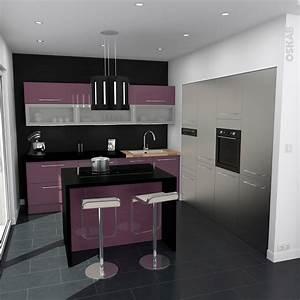 Cuisine aubergine modele keria aubergine brillant for Idee deco cuisine avec cuisine modele