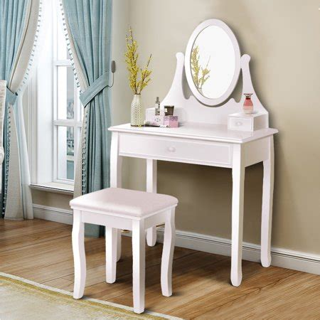 Vanity And Stool Sets by Gymax Bathroom Wooden Mirrored Makeup Vanity Set Stool