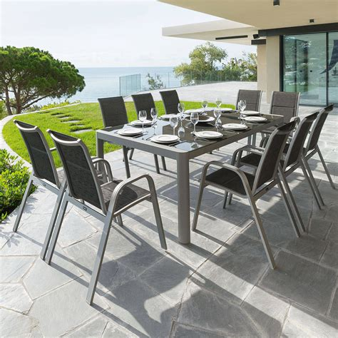 Table De Jardin Absolu Silver Mat Hespéride 10 Places