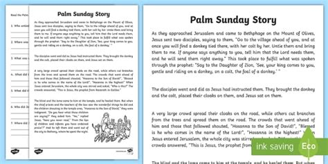 palm sunday reading comprehension activity comprehension