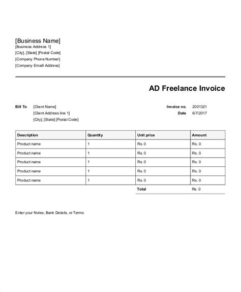 advertising invoice templates  word  excel