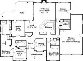 3 bedroom house plans one story ranch style house plans 3000 square foot home 1 story